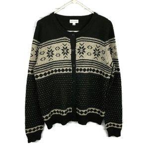GREAT NORTHWEST Nordic Cardigan Sweater L